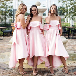 StrapleSS big wedding dreSSeS online shopping - Elegant Blush Pink Strapless A line Bridesmaid Dress With Big Bow Cheap Hi Lo Wedding Guest Gown Backless Patrty Prom Dress