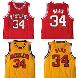 1429f4ccb Maryland Basketball Jersey  34 Len Bias All Stitched Men College Basketball  shirt Red Yellow S-2XL Free Shipping