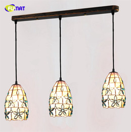 "Pendant Lampshades Australia - FUMAT 3 Lights 5"" Tiffany Pendant Lights Indoor Lighting Natural Shell Blue Floral Lampshade Dining Room Kitchen Pendant Lamps"