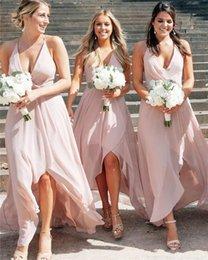 Blush pink elegant dresses online shopping - 2020 Elegant Blush Pink Halter Chiffon Beach Bridesmaid Dresses Elagant Hi Lo Maid Of Honor Gown Long Formal Prom Evening Dresses