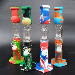 Silicone Bongs Percolators Perc glass water pipes shisha hookah Bong percolator tube With Bowl banger dab rigs on Sale