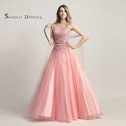 $enCountryForm.capitalKeyWord Australia - A-Line Beading Turquoise Tulle Pink Prom Party Dress Elegant Backless Vestidos De Festa Evening Occasion Backless Quinceanera Gown LX425