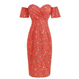 4332615987b Kenancy Sexy Strapless Women Bodycon Dress Off Shoulder Sleeves Summer Party  Vestidos Red Print Back Zip Split Vintage Dress New