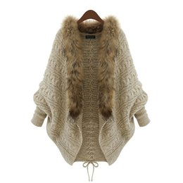 Batwing Bat Sleeve Cardigan NZ - Loose large size knit cardigan bat sleeve fur collar sweater coat 2019 new fashion sexy European and American women's adult clothing P013