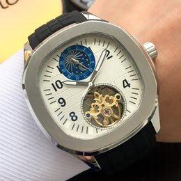 $enCountryForm.capitalKeyWord Australia - Luxury Mens Watches Fashion Flywheel Mechanical Automatic Watch Moon Phase Rubber Strap 316L Steel Case Wriswatch 45mm Mens Watches