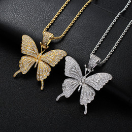Wholesale Hip Hop butterfly shape necklace For Men Women Iced out Bling animal Pendant Gold Silver Twisted chain Hiphop Rapper Jewelry Drop Shipping