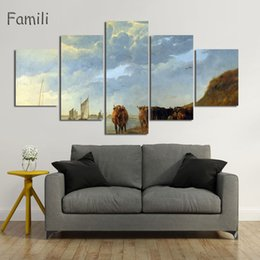5panels Oil Painting UK - 5Panels Modern Wall Art Home Decoration Printed Oil Painting Picture No Frame Canvas Prints Beautiful Landscape Canvas Painting