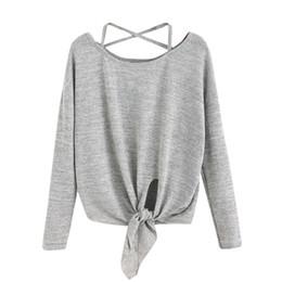 Casual Long Back Blouse Australia - Women Casual Tops Tied Up Crow Fasion Autumn Long Sleeve Soild Blouse Crisscross Back Round Neck Shirt #EP