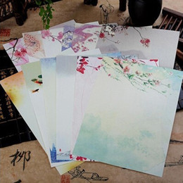 Stationery Wholesale Packs Australia - 16Pcs pack Beautiful Chinese Style Letter Paper Ink Painting Writing Students Stationery Office Tools