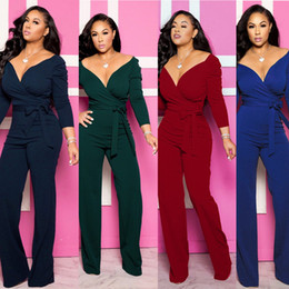 fitted jumpsuits Australia - 2020 New Fashion Women Sexy Jumpsuits Party Club Long Sleeve Rompers Pants Belt Jumpsuits Solid color slim-fit v-neck jumpsuit