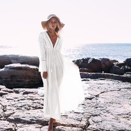 $enCountryForm.capitalKeyWord Australia - 2019 Women Summer Beach Dress Sexy Lace V Neck Bikini Cover Up Solid Hollow Out Beach Tunics Swimsuit Beachwear Swimwear Pareo