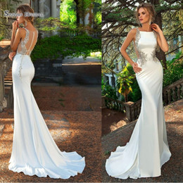 Wholesale 2019 White Mermaid Satin Backless Sweep Wedding Dresses Sleeveless Crystals Bridal Party Gown Vestido De Novia