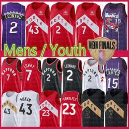 Discount kids basketball jerseys - NCAA Kawhi 2 Leonard Jersey Youth Mens Pascal 43 Siakam Vince 15 Carter Kyle 7 Lowry Fred23 VanVleet college Kids Baske
