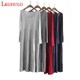 Discount plus size clothes europe - Europe 2019 autumn women cotton dress plus size clothing pleated long sleeve modal dress Summer pleated Maxi dresses W79