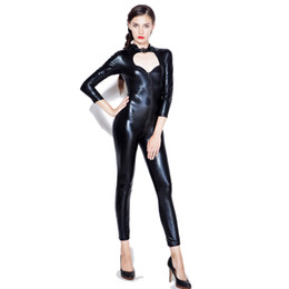 Catsuit Zipper Xl Australia - Sexy wetlook Faux Leather Catsuit PVC Latex Bodysuit Front Zipper Open Crotch Clubwear fetish hot erotic Pole Dance Lingerie