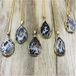 Wholesale Agate Geode Pendants Australia - Geode Raw Stone Long Boho Necklace, Natural Stone Slice Necklace, Rough Stone and Agate Crystal Necklace Natural agate pendant