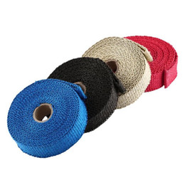 pipe tape UK - 5m Thermal Exhaust Tape Exhaust Pipe Wrap Header Heat Resistant Cloth With Steel Strap For Car Motorcycle Intake Parts