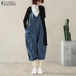 9c72ce9e982e S 5XL ZANZEA Women Casual Loose Romper2019 Spring Solid Cotton Linen Wide  Leg Jumpsuit Vintage Strappy Sleeveless Long Overalls