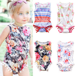 Wholesale kids clothing designs for sale – custom Infant Baby Floral Rompers Designs Newborn Girls Tassel Onesies Kids Casual Clothes Girls Printed Outfits Toddler Jumpsuits