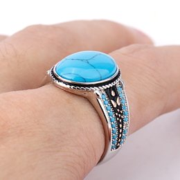 Men Blue Stones Ring Australia - 925 Sterling Silver With Sky Blue Oval Turquoises Stone Life Track Significance Ring For Men Fashion Jewelry C19041101