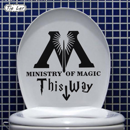 Bathroom Funny Wall Stickers Australia - 1PC Art Design Ministry of Magic Bathroom Wall Sticker Home Toilet Decal DIY Funny Harry Potter Parody Rest Room Wall Decals
