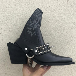 $enCountryForm.capitalKeyWord Australia - Women Punk Shoes Backless Cowboy Boots Silver-Tone Spike Stud Ankle Boots Slingback Strap Embroidered Booties Women