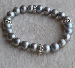 pearl stores NZ - Unique Pearls jewellery Store Real Pearl Bracelet Gray Round Freshwater Pearl Elastic Bracelet Wedding Birthday Women Gift