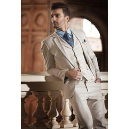 $enCountryForm.capitalKeyWord Australia - Hot Sale Beige Two Buttons Notch Lapel Men Suits Slim Fit CostumeWedding Dress Groom Tuxedos Prom Suits Coat+Pant+Vest