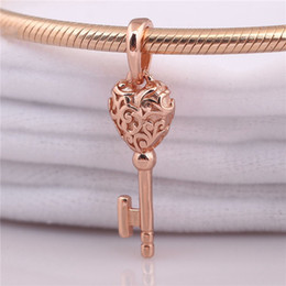 pandora silver rose gold plated bracelet NZ - 925 Sterling Silver Charm Bead Rose Gold Regal Key Pendant Fit Original Pandora Necklace Bracelet Bangle for Women Jewelry Gift