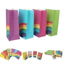 Wholesale shop cookies online – design Rainbow Food Bag Oil proof Cookie Candy Food Packaging Shopping Bags Rainbow Wedding Birthday Party Biscuits Packing Bags