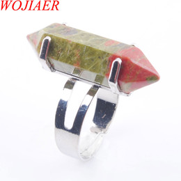 unique silver jewelry Canada - WOJIAER Unique Ring for Women Natural Unakite Jasper Stone Beads Rings Silver Color Party Jewelry 1PCS DX3017