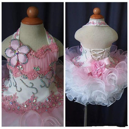 Halter Lace Girls Pageant 2020 Toddler Cupcake Dress Baby Girls Short Glitz Tutu Formal Wear Party Dresses For Infant Birthday Party Gown