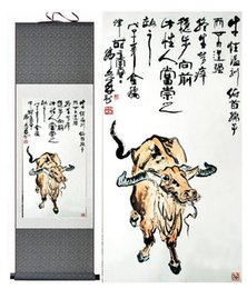 Silk Painting Fashion Australia - Bull Silk Art Painting Chinese Art Painting Home Office Decoration Chinese Cattle Painting 1906151553