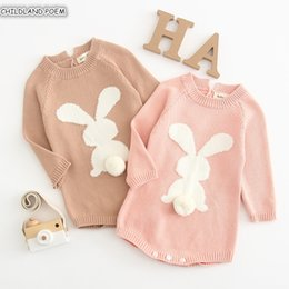 $enCountryForm.capitalKeyWord Australia - Knitted Romper 2019 Spring Bunny Newborn Girl Rompers Clothes 100%Cotton Long Sleeve Infant Baby JumpsuitMX190912