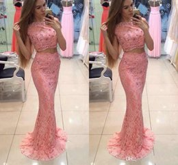 $enCountryForm.capitalKeyWord Australia - 2019 New Design Scoop Neck Two Pieces Prom Dresses Lace Appliques Sweep Train Mermaid Long Party Evening Wear Gowns