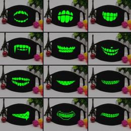$enCountryForm.capitalKeyWord UK - 100pcs Black Luminous Mouth Mask Light in the dark Anti dust keep warm Cool Unisex Mask Black Teeth Glow Cotton Face Mask