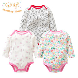 baby bodysuit 3t UK - 3pieces lot 100% Cotton Baby Bodysuit Spring Autumn Newborn Baby Clothing Long Sleeve Underwear Infant Baby Girl Pajamas Clothes Y19050602