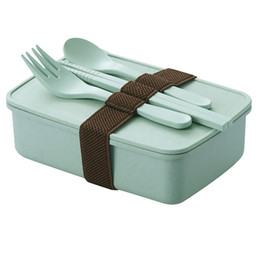 Bento chopsticks online shopping - Bamboo Fiber Bento Box Non Slip Lunch Case Thickening Seal Up Dinner Pail Knife Fork Chopsticks Attached jcb1