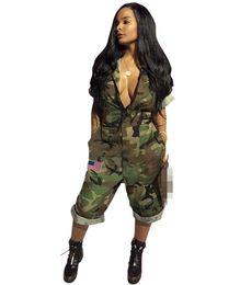 $enCountryForm.capitalKeyWord Australia - Newest Women Sexy Jumpsuits Camouflage Print Half Sleeves Deep V Neck Zipper Capris Pants Jumpsuits Romper with Pockets Mid Calf