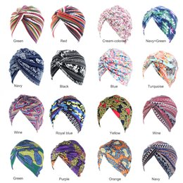 indian cotton wholesalers UK - New Arrival Bohemian Style Cotton Turban for Women Indian Cap Floral Print Headwrap Hair Accessories Headband Bandanas Chemo Cap