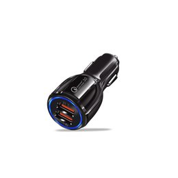 Car Charge Double UK - QC3.0 Car Charger Double Usb Fast Charge One-for-two Car Phone Charger Quick Charging