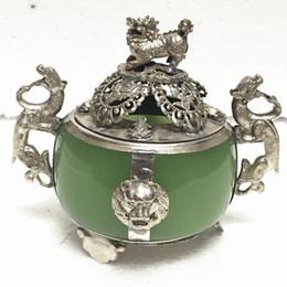 Saco de cobre antigo jade queimador de incenso enfeites de ágata verde fera leão leão queimador de incenso antigo diversos ofícios de bronze em Promoção