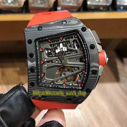 $enCountryForm.capitalKeyWord Australia - New RM70-01 Alain Prost Skeleton Big Date Tourbillon Automatic 70-01 Men Watch NTPT Carbon Fiber Case Red Rubber Road Racing Bicycle Watches