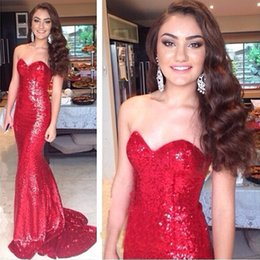 Strapless Sequin Red Dress Australia - 2019 Newest Fashion Red Strapless Sweetheart Neckline Sleeveless Sequin Mermaid Custom Made Plus Size Party Prom Dresses