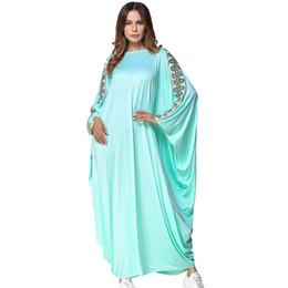 e29c32893f Muslim Abaya Dress Cyan bat sleeve Loose Long dress women Casual Maxi  Dresses Islamic Clothing Arab Robe