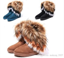 fox fur feather Australia - 2019 women Boots autumn and winter snow boots Feathers fox fur flat-bottomed short cotton-padded shoes winter boots XMAS gift