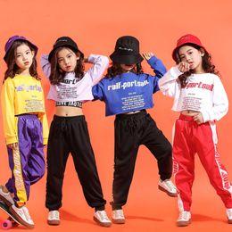 e1dd736ff17 Children Hip Hop Clothes Girls Jazz Street Dance Costumes Kids  Midriff-baring Sweatshirt Jogger Pants Ballroom Dancewear Outfit