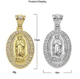 Toptan satış Avrupa ve Amerikan yeni hip hop takı Meryem ile kakma oval oval elmas üç boyutlu kolye