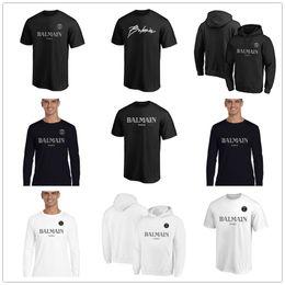 Top fan online shopping - 2019 New style B almain Mens Designer T Shirts Black White Fashion Hoodies Short Sleeve Brand Clothing Fans Tops Tees shirts printed Logos