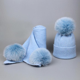 Cashmere Beanies Australia - Children cashmere fleece 16cm real fur ball cap pom poms baby kids winter hat Scarf Set knitted beanies hats Thick scarves suit